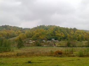 Maisons sous le ciel gris de l'automne
